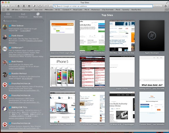 Safari 6.1 Mountain Lion Sidebar