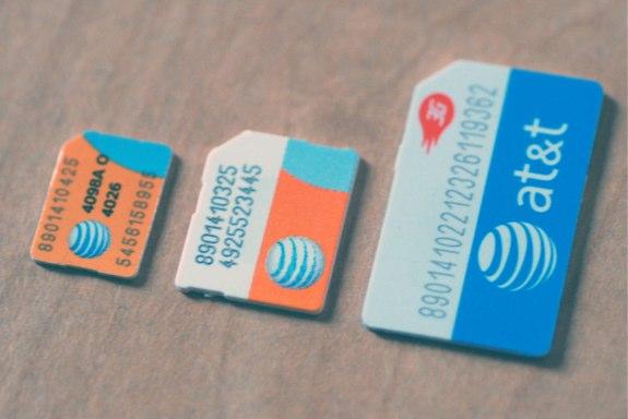 SIM, micro SIM, and nano SIM