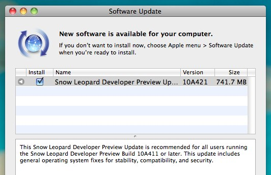 Mac OS X Snow Leopard 10a421
