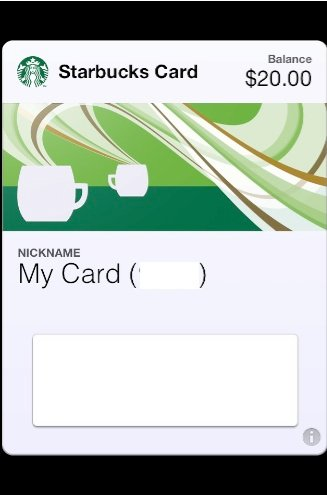 Starbucks Passbook card
