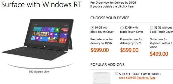 Surface RT sold out