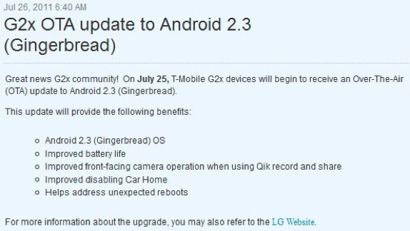T-Mobile G2x gingerbread update
