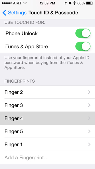 Touch ID settings iphone fingerprint