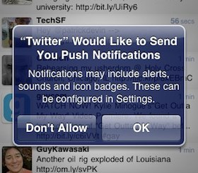Twitter push notifications