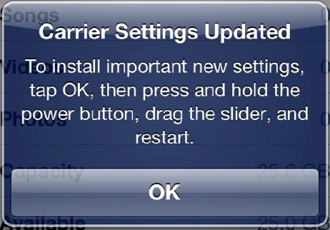 Verizon iPhone 5 carrier setting update