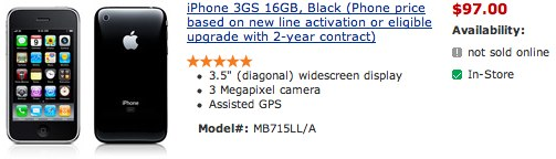 Wal-Mart iPhone 3GS $97
