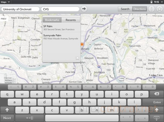 WebOS 3.0 touchpad maps