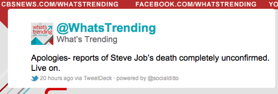 WhatsTrending Steve Jobs Tweet