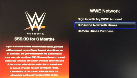 WWE Network iTunes billing