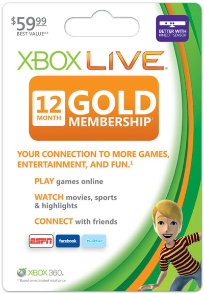 xbox live gold subscription 12-month card