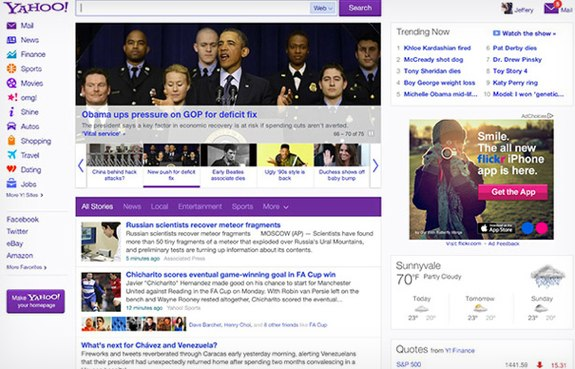 Yahoo new homepage design