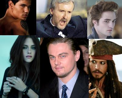 Taylor Lautner, James Cameron, Robert Pattinson, Kristen Stewart, Leonardo DiCaprio, Johnny Depp