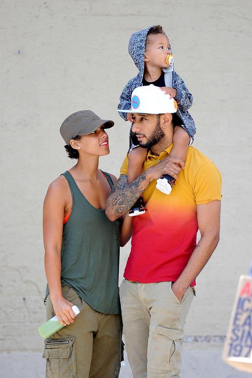 Alicia Keys with her son and Swizz Beatz