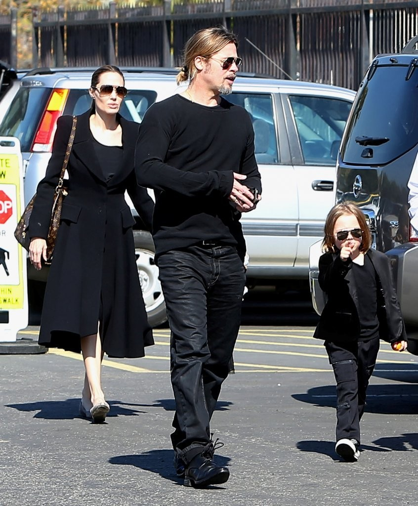 Angelina Jolie and Brad Pitt with their son