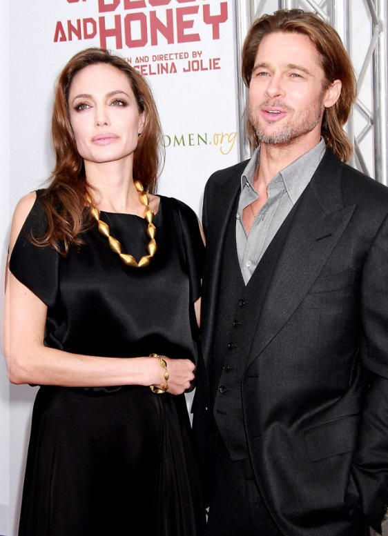 Angelina Jolie and Brad Pitt at the premiere of her film