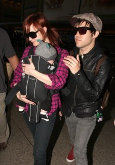 Ashlee Simpson-Wentz and husband Pete with son Bronx