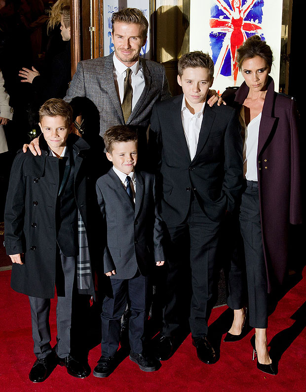 David and Victoria Beckham with their kids