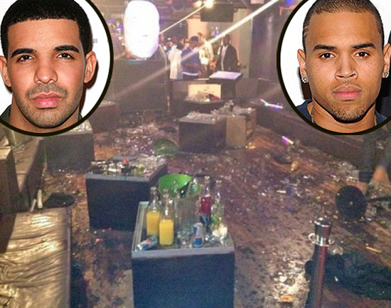 Scene of the club after the fight between Drake and Chris (inset to left and right)