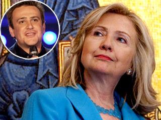 Jason Segel (inset) and Hillary Clinton