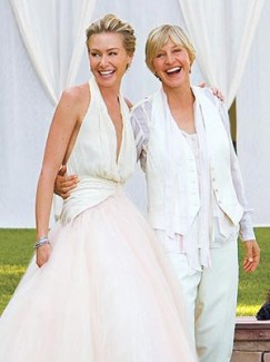 Portia de Rossi and Ellen DeGeneres on their wedding day