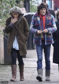 Ronnie Wood sharing a smoke break with girlfriend Ekaterina