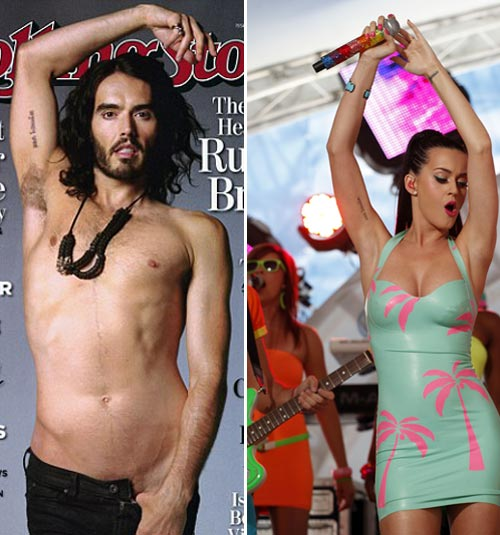 Russell Brand and Katy Perry tattoos