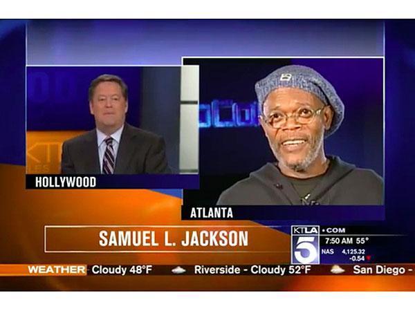 KTLA reporter Sam Rubin and Samuel L. Jackson
