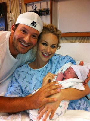 Tony Romo with wife and son