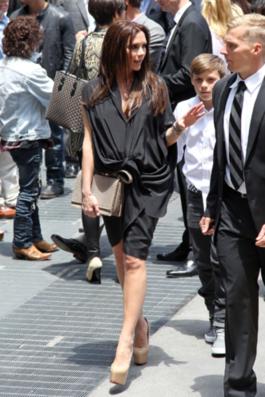 Victoria Beckham at eight months pregnant