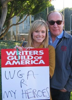 Jeph Loeb and Kristen Bell WGA strike