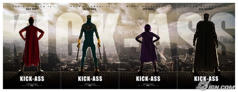 Kick-Ass posters lined up