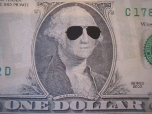 one dollar with sunglasses