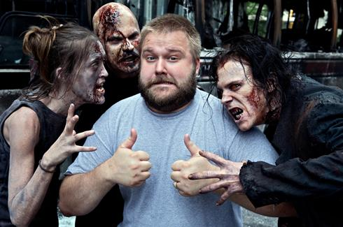 Robert Kirkman on the set of The Walking Dead
