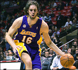 Pau Gasol of the Los Angeles Lakers