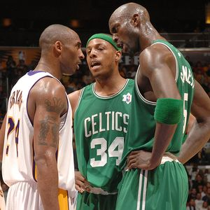 Kobe Bryant, Paul Pierce, and Kevin Garnett must be talking about offseason activities