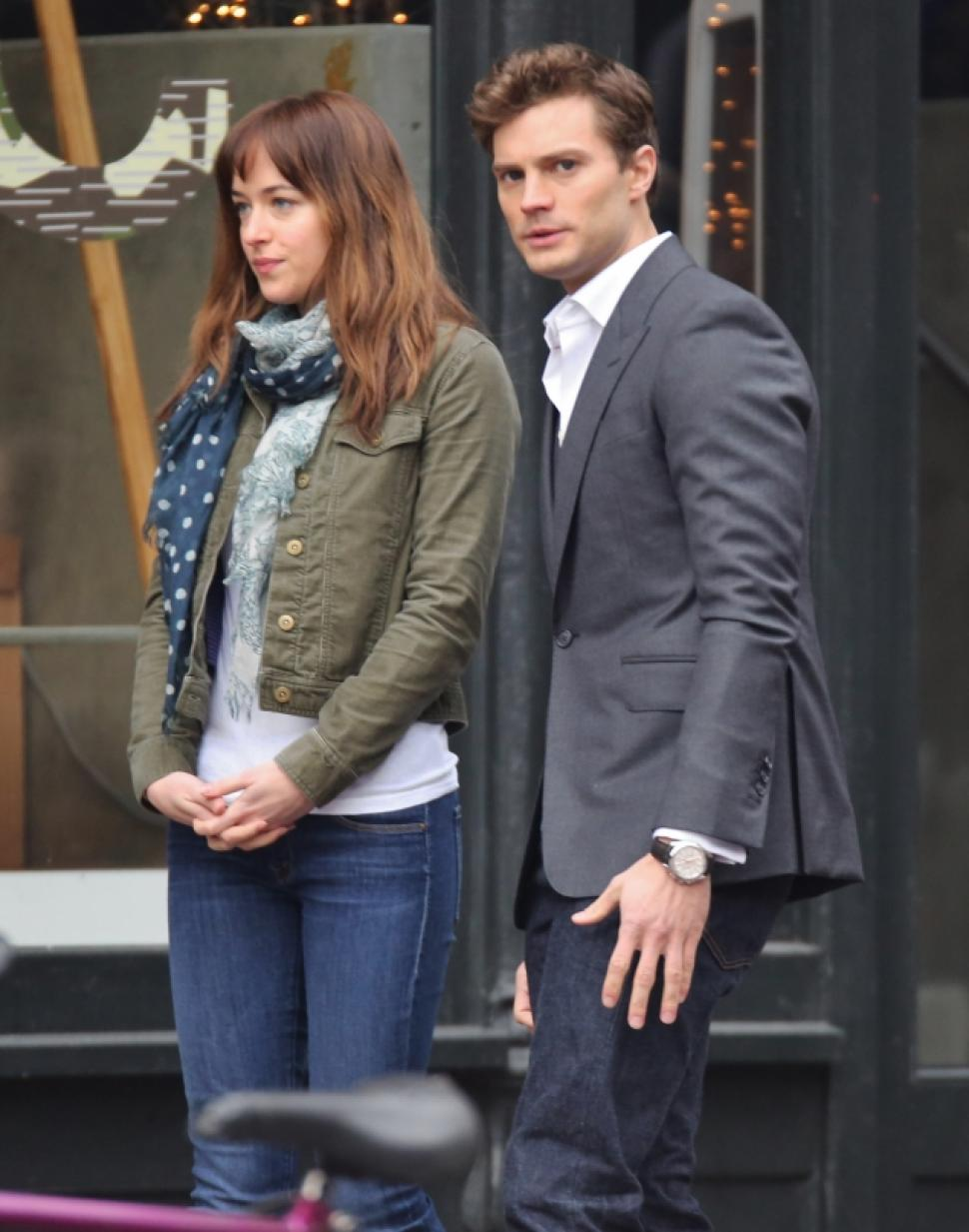 Dakota Johnson and Jamie Dornan on the set of '50 Shades of Grey'