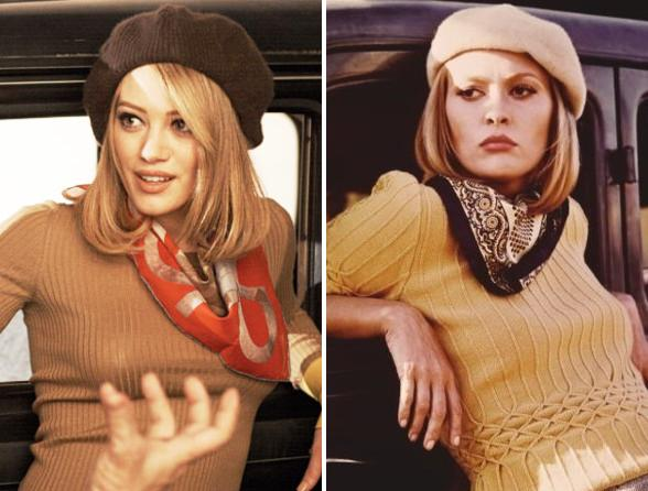 Hilary Duff next to Faye Dunaway as Bonnie