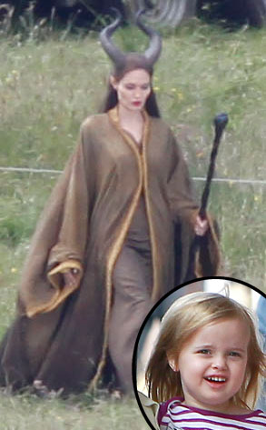 Angelina Jolie on the set of 'Maleficent' and Vivienne Jolie-Pitt inset