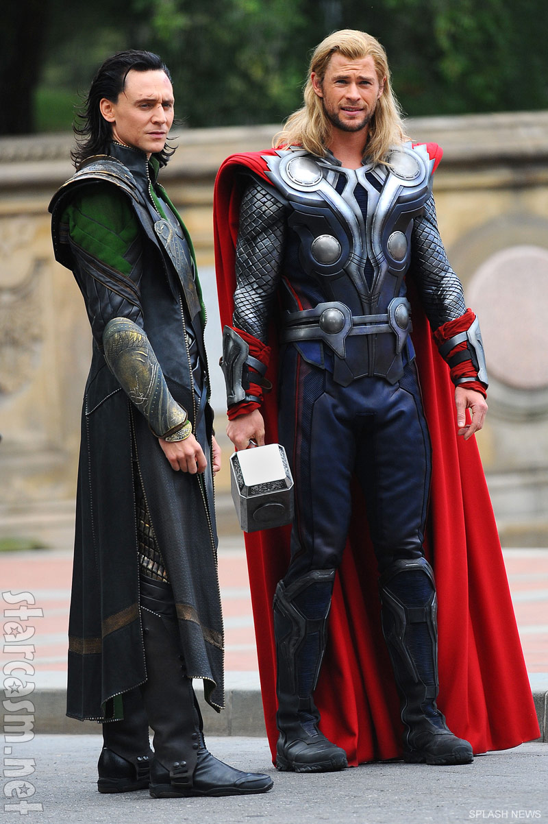 Tom Hiddleston and Chris Hemsworth in The Avengers