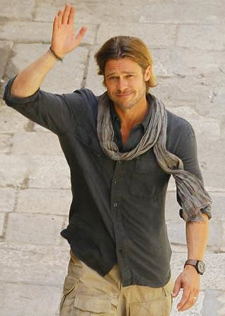 Brad Pitt on the set of World War Z