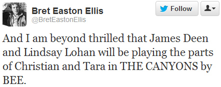 Bret Easton Ellis tweeting praise for Lindsay in the past