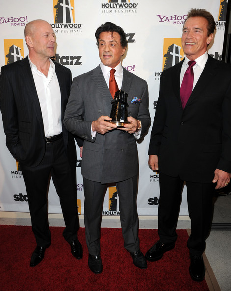 Bruce Willis with Sylvester Stallone and Arnold Schwarzenegger