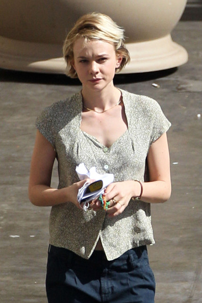 Carey Mulligan on the set of Drive