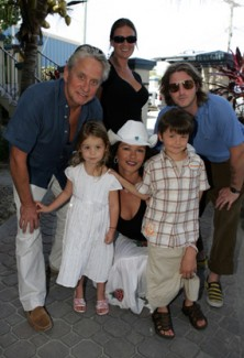 Catherine Zeta-Jones with husband Michael Douglas and kids
