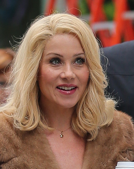 Christina Applegate on the set of 'Anchorman 2'