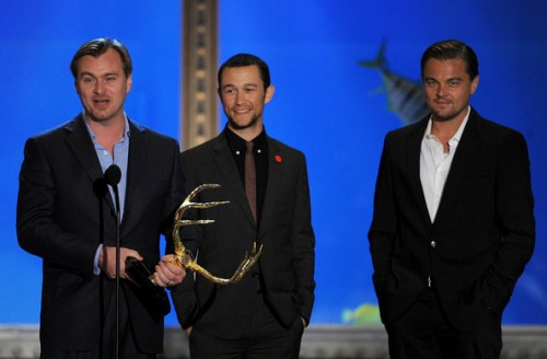 Christopher Nolan with Joseph Gordon-Levitt and Leonardo DiCaprio