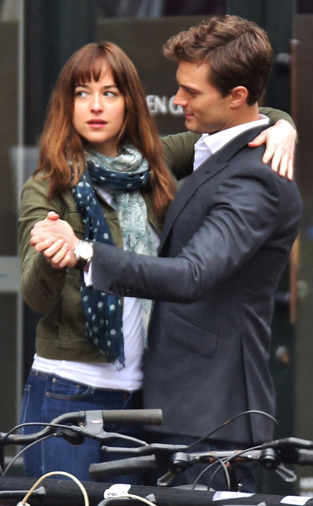 Dakota Johnson and Jamie Dornan on the set of 'Fifty Shades of Grey'