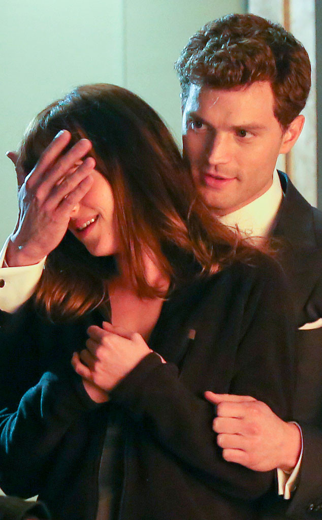 Dakota Johnson and Jamie Dornan filming 'Fifty Shades of Grey'