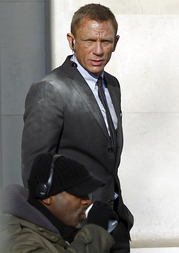 Daniel Craig on the set of Skyfall