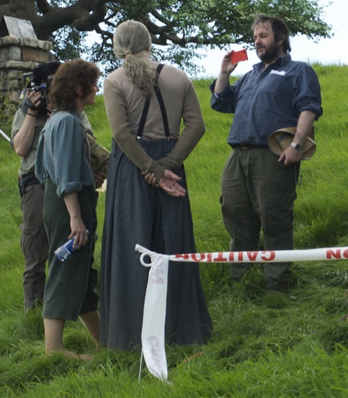 Elijah Wood, Ian McKellen, and Peter Jackson on the set of 'The Hobbit'